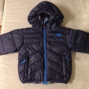 Reversible Navy Plaid North Face Down Jacket 2T